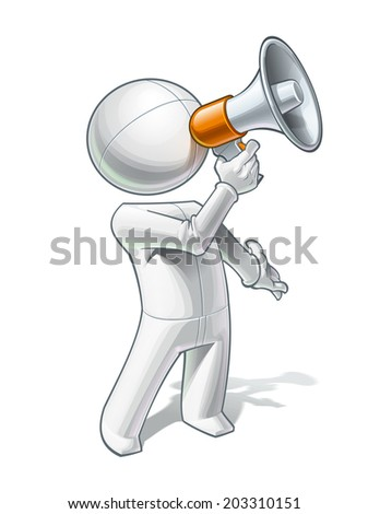 Vector illustration of a generic person calling through a megaphone. - stock vector