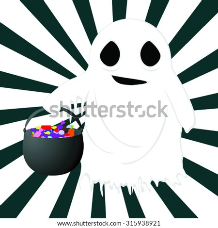 vector illustration of a ghost with a pot of candy on striped background