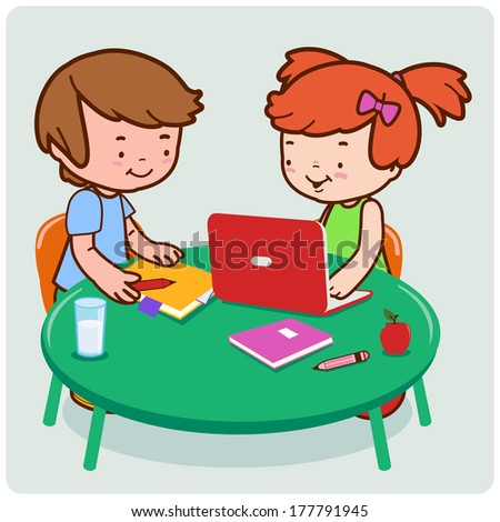 Vector Illustration of a girl and a boy students doing  their homework. - stock vector