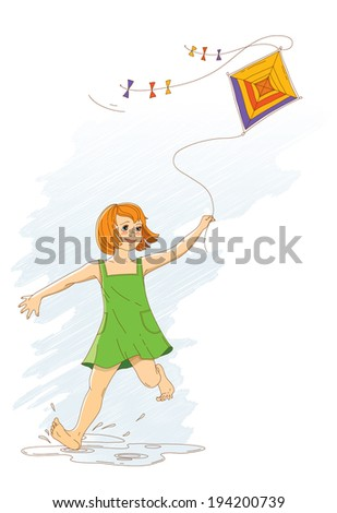 Vector illustration of a girl in a green sundress with developing hair in the wind, flies a kite. - stock vector