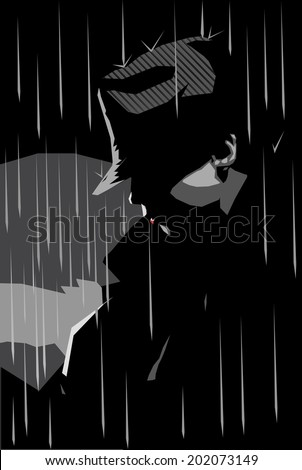 Vector illustration of a girl in a jacket and hat with rainy background, noir style  - stock vector