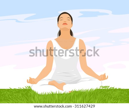 Vector illustration of a girl practicing yoga