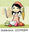 Vector illustration of a girl prepares a meal - stock vector
