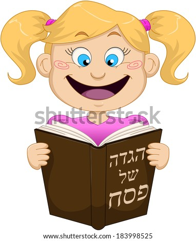 Vector illustration of a girl reading from Haggadah on Passover. The title on the front cover says Haggadah of Passover.  - stock vector