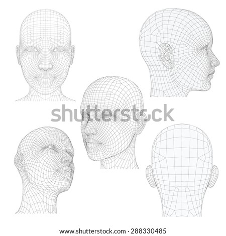 Vector illustration of a girl's head from different angles. Polygonal covering skin. Isolated. - stock vector