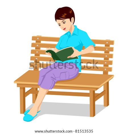 Vector illustration of a girl sitting on a bench reading a book