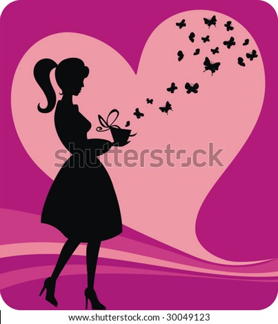 Vector illustration of a girl with opened gift box with butterflies.