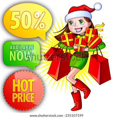 Vector illustration of a girl with shopping bags. Christmas shopping - stock vector