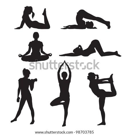 Vector illustration of a girl yoga silhouette - stock vector