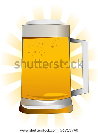 vector illustration of a glass of beer - stock vector