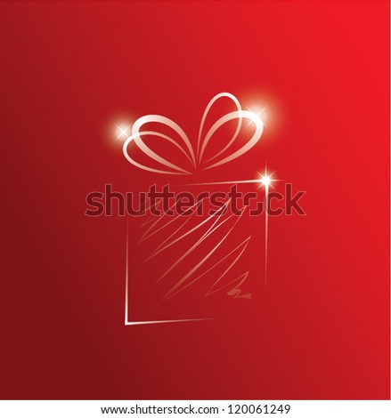 Vector illustration of a glittering gift box - stock vector