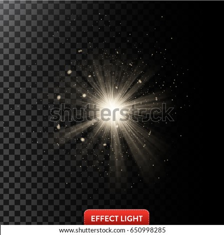 Vector illustration of a glowing light effect with rays and small sparks isolated on a dark translucent background