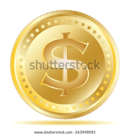 Vector illustration of a gold coin with dollar symbol