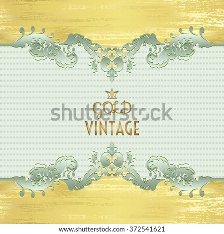 Vector illustration of a gold lace pattern or Baroque, Victorian style.  Luxury design with space for text.  For wedding invitations, greeting cards.  - stock vector