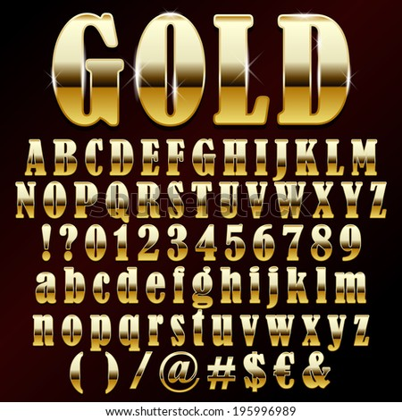 Vector illustration of a gold metal alphabet - stock vector