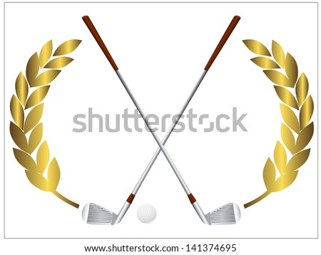 Vector illustration of a golf ball and crossing golf clubs - stock vector