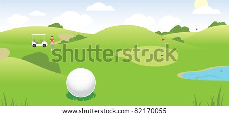 vector illustration of a golf course scene showing golfer, cart, course, green and water hazard - stock vector