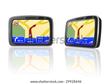 Vector illustration of a GPS navigation device - stock vector