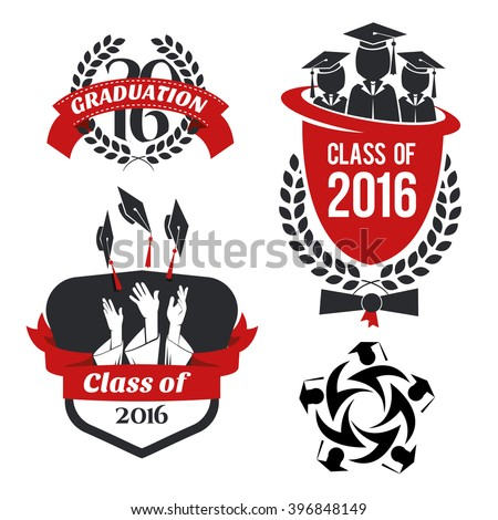 vector illustration of a graduating class in 2016 graphics elements for t-shirts, and the idea for the sign or badge - stock vector