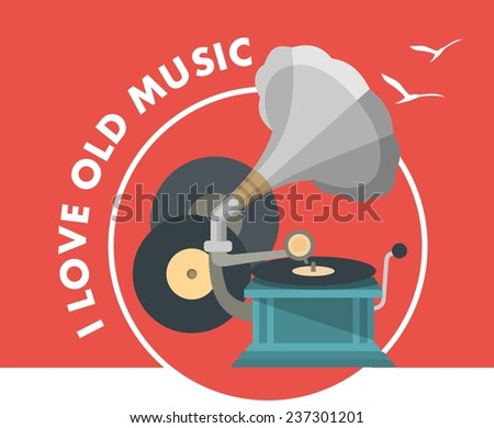 Vector illustration of a gramophone and records in a retro style and retro colors - stock vector