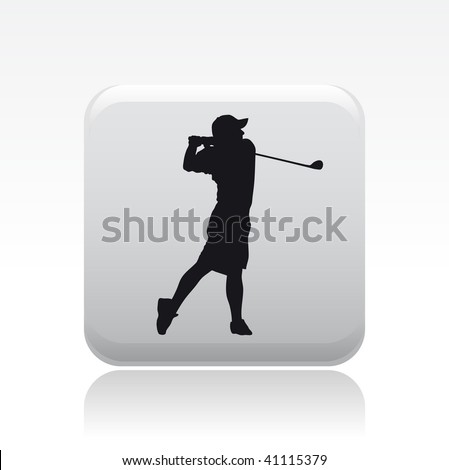 Vector illustration of a gray icon in a modern style with a reflection effect depicting a isolated golf player in action
