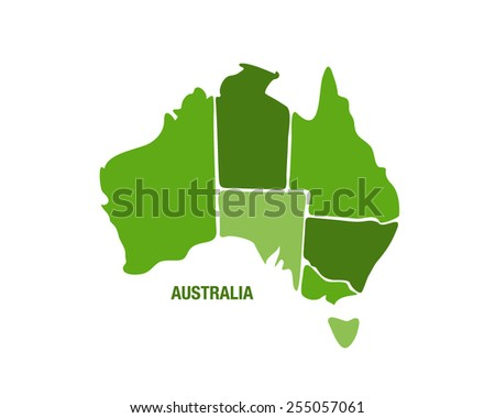 Vector illustration of a green Australia map - stock vector