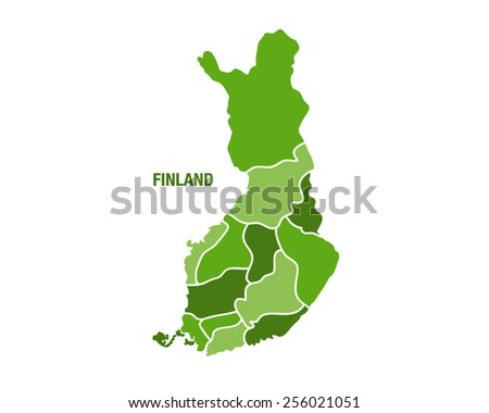 Vector illustration of a green Finland map - stock vector