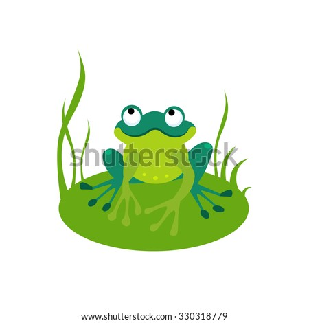 Vector illustration of a green frog sitting on a leaf - stock vector