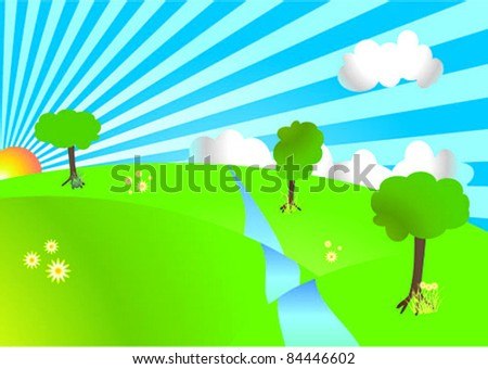 Vector illustration of a green hills landscape - stock vector
