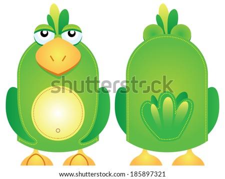 Vector illustration of a green parrot bird hand puppet character - stock vector