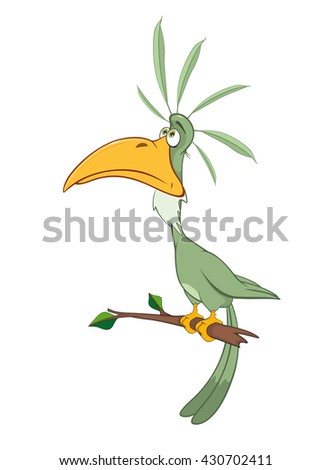 Vector Illustration of a Green Parrot. Cartoon Character