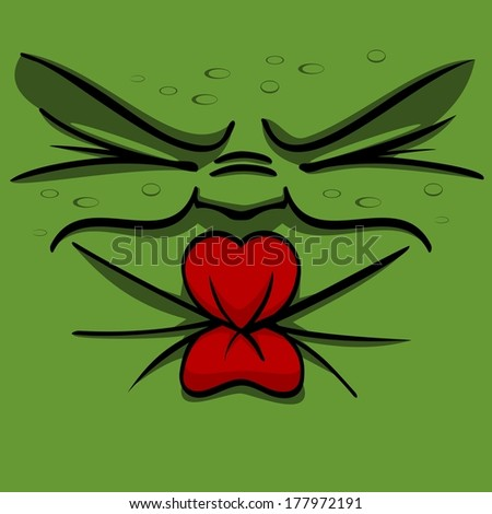 Vector illustration of a green sour pucker face squinting - stock vector