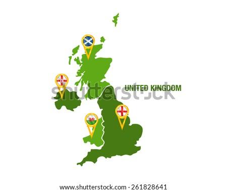Vector illustration of a green United Kingdom map - stock vector