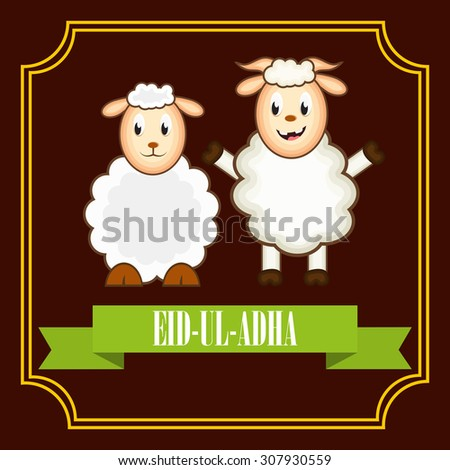 Vector Illustration of a Greeting card template for Muslim Community Festival  Eid-Ul-Adha with sheep.  - stock vector
