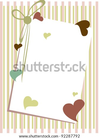 Vector illustration of a greeting card with blank note  heaving colorful heart shapes and ribbon on straight lines background for Valentines Day and other occasions. - stock vector