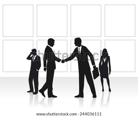Vector illustration of a group businessmen  in office - stock vector