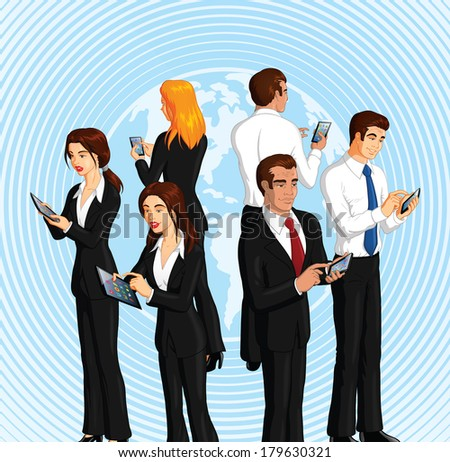 Vector illustration of a group of businesspeople using smart phones and digital tablets.