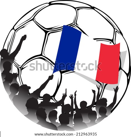Vector illustration of a group of French soccer fans in a stylized soccer ball. One fan is waving the flag of France. - stock vector