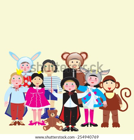 Vector illustration of a group of funny children in colorful costumes.