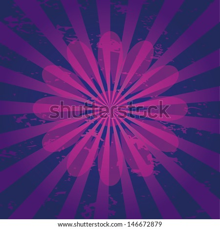 Vector illustration of a grungy background with flower symbol. - stock vector