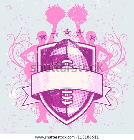 Vector illustration of a grungy football crest designed for cheerleader events. Includes scratch textures, swirly curly flourishes, ink splatters, cheerleader silhouettes, stars and halftone patterns - stock vector