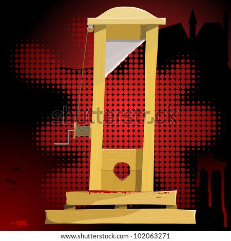 Vector illustration of a guillotine. EPS10 - stock vector
