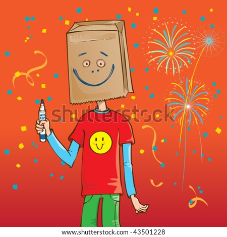 Vector Illustration of a guy wearing a brown paper bag over his head with a big doodle fake smile drawn on it. - stock vector
