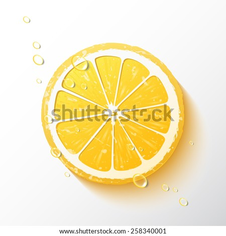 Vector illustration of a half of a lemon, juicy slice of  fruit with drops of water, realistic design, minimalistic style, isolated object on a white background - stock vector