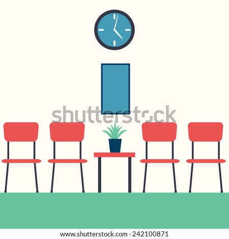 Vector illustration of a hall interior with furniture
