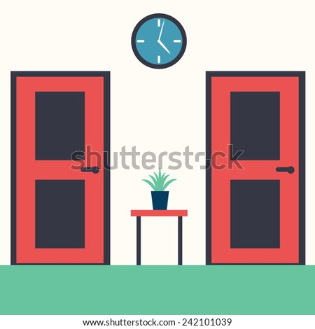 Vector illustration of a hall interior with furniture - stock vector
