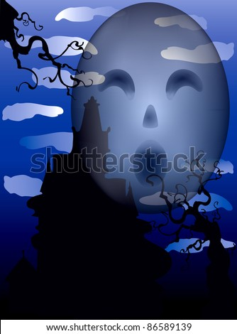 Vector Illustration of a Halloween Haunted Mansion with scary eyes.