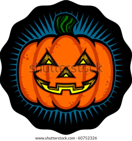 Vector illustration of a Halloween jack o'lantern glowing and grinning. - stock vector