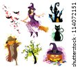 Vector Illustration of a Halloween Set - stock photo