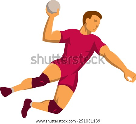 vector illustration of a hand ball player with ball  jumping throwing scoring done in retro art deco style. - stock vector